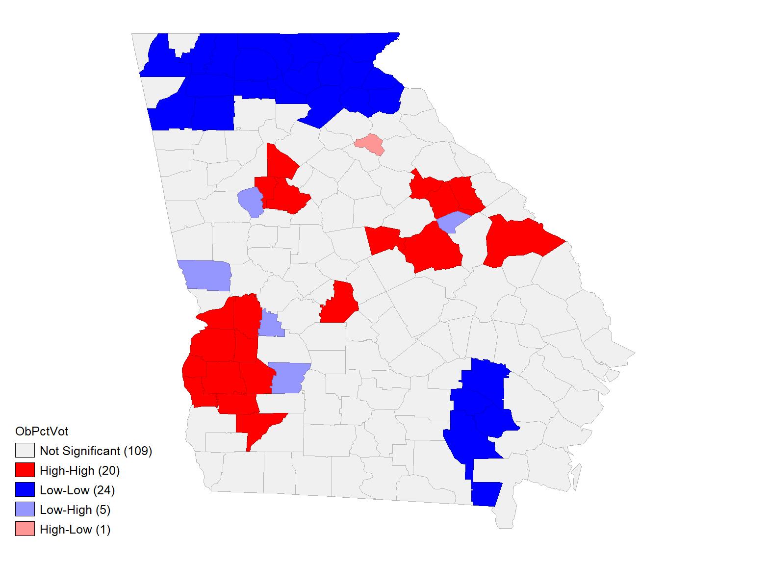 Obama local morans cluster
